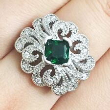 Vintage Carved Green Emerald Statement Ring Wedding Jewelry Gift Sizable R6251