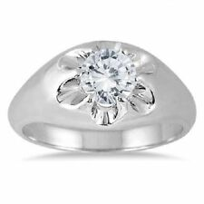 2.50 CARAT MEN D/VVs1 DIAMOND SOLITAIRE RING IN 14K WHITE GOLD OVER WEDDING RING