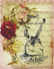 QUILT ART FABRIC BLOCK*BUNNY LOVE ON ROSES AND FRENCH SCRIPT COLLAGE*1=5X7