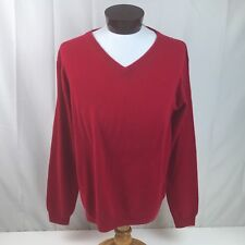 Pronto Uomo 100% Cashmere V Neck Sweater Pullover Soft Knit Red XXL