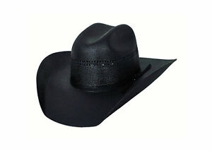 BULLHIDE Black Gold 10x Linen Straw Western Cowboy Hat, Black - All Sizes