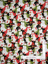 Christmas Snowman Snowmen Scarves Black Cotton Fabric Studio E Winter Bliss Yard