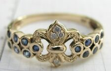 R132- Genuine 9ct Gold NATURAL Sapphire & Diamond Fleur-De-lis Ring size N