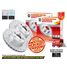 HOLDEN HSV Clubsport R8 VE 365mm 2006-2013 FRONT Slotted Drilled Disc Rotors (2)