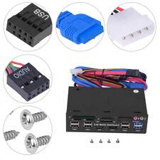 "PC Internal Card Reader USB3.0 HUB e-SATA Port 5.25"" Media Dashboard Front Panel"