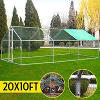 20x10ft Large Metal Chicken Coop Walk-in Runs Backyard Hen house Farm Ranch