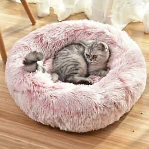 Fluffy Warm Dog Sleeping Plush Bed Round Soft Calming Donut Comfy Cushion Beds