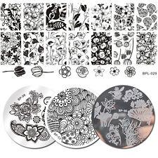 4Pcs BORN PRETTY Nail Art Stamping Plate Flower Image Manicure Template Kit
