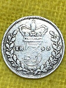 queen victoria threepence dated 1843.
