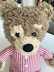 "CBeebies Little Charley Bear 16"" Bedtime Teddy Soft Toy Red White Stripe Pyjama"