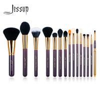 Jessup Cosmetic Brush Set Powder Blush Lip Eyehshadow Liner Tools 15Pcs Purple