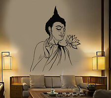 Vinyl Wall Decal Buddha Lotus Flower Buddhism Yoga Meditation Stickers (1311ig)