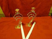 2 Bougeoirs  art déco.années 50!!neufs! Métal doré blanc!!!  pour belle table !!