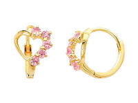 14K Real Yellow Gold Small Heart Pink CZ Huggies Earrings for Baby and Children