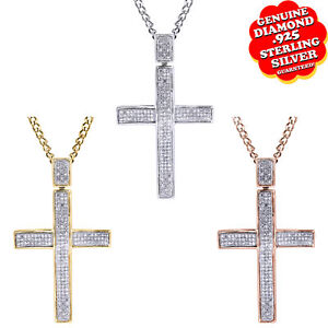 1/4 Ct Round Natural Diamond 14K Gold Over Cross Pendant For Mens