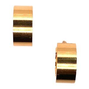 French 18 Karat Yellow Gold Wide Huggie Hoop Earrings