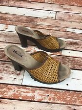 "MUDD 9 1/2 Yellow Basket Weave Slip On Open Toe Mule 4 1/4"" Casual High Heels"