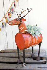 Metal Deer Planter Yard Art Decor Cooler Recycled Barrel Deer Reindeer Red