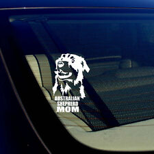 "Australian Shepherd Mom Car Window Bumper White Decal Sticker 5"" #SS6"