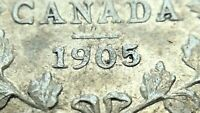 1905 Near Date Canada Five 5 Cent Small Silver Circulated Edward VII Coin J571