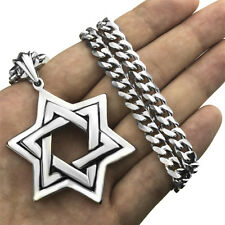 Men Large Jewish Symbol Star of David Stainless Steel Pendant Necklace Chain Set