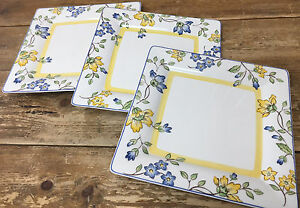 Toscana Villeroy Boch 3 Square Dinner Plates 325150 Blue Yellow Flowers HTF