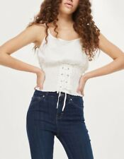 Topshop Brand New White Corset Detail Camisole Cotton Top Size 4 6 8