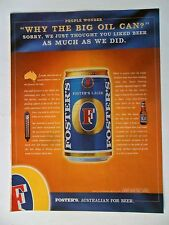 2001 Print Ad Foster's Australian Beer ~ Why The Big Oil Can?