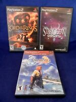 Lot of 3 PS2;Final Fantasy X,Lord of Rings 3rd Age,Star Ocean-2 Discs,w/ Mans,VG
