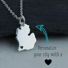 Personalized Michigan State Necklace - Heart Engraved Near City - 925 Silver