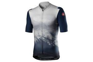 NEW 2021 Castelli POLVERE Cycling Jersey, Dark Grey/Blue, XL