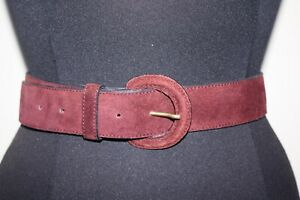 "Laura Ashley Suede Burgundy Leather Belt 28"" S/M 8 10"