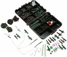 155pcs Fishing Tackle Box Set Weights Swivels Snaps Safety Clips Hooks Hair Rigs