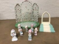 PRECIOUS MOMENTS Miniature 1989 Butcher FAMILY Wedding Set ENESCO Bride Groom