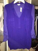NWT Splendid Woven Front Jersey Knit Henley Top, Cobalt Blue, Size Large