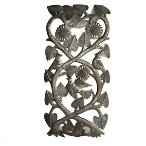 """Haitian Art Recycled Oil Drum Metal Wall Decoration """"Tree with Birds"""" 14 x 7 in"""