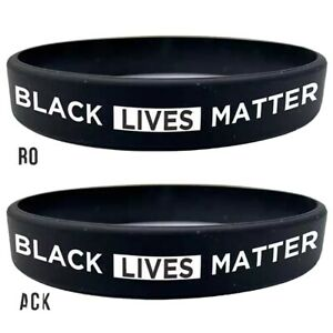 Black Lives Matter #BLM Silicone Rubber Awareness Wristband Bracelet 100% donate