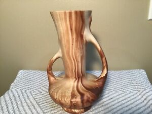 Vintage 1950s Colorado Art Pottery Romco 2 Handled Vase Brown Swirl Wood Grain