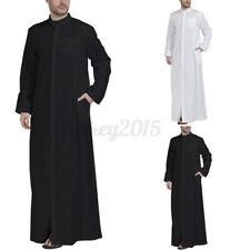 US STOCK Men Long Sleeve Islamic Arab Muslim Dress Kaftan Saudi Jubba Thobe Robe