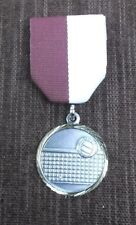 silver Volleyball medal ball and net maroon/white pin drape 1 1/4""