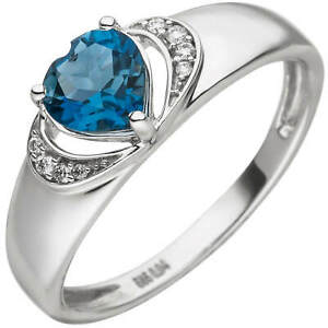Ring Made From 585 White Gold With Heart Out Topaz Blue Topaz 8 Diamonds