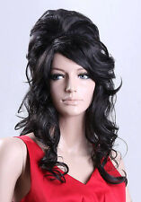 Amy Winehouse Wig Rehab Ladies Black Wig Beehive 60's Fancy Dress Party Wigs