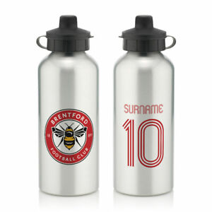 PERSONALISED Brentford FC Gifts - Retro Shirt Water Bottle - Official