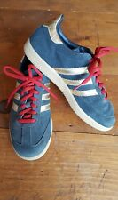 Vintage Adidas SAMBA 3 gold stripe shoes blue suede mens 5
