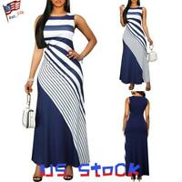 Women Sleeveless Maxi Dress Striped Sundress Bodycon Ball Gown Party Evenings US