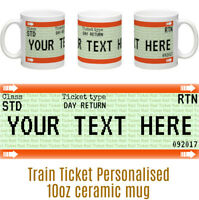 Train Ticket Fun PERSONALISED Ceramic Mug Birthday Christmas Secret Santa Gift
