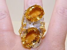 GENUINE! 27.92tcw Brazilian Citrine Oval Cut Ring, Solid Sterling Silver 925
