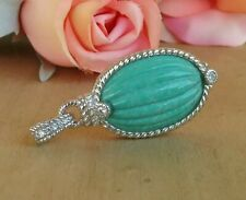 Judith Ripka Carved Turquoise And Diamonique  Enhancer Pendant Sterling 20 grams