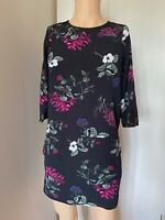 Joules Dress Tunic Top UK Size 10 12 Womens Ladies Black Floral Summer Pockets