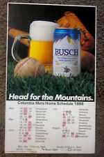 "1986 Columbia Mets 17X10"" Cardboard Schedule Sign Busch Beer NY Minor League SC"